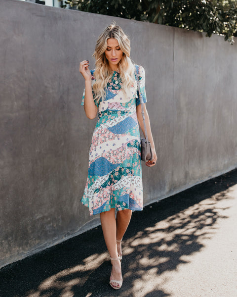 Camellia Floral Patchwork Midi Dress - FINAL SALE