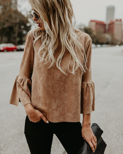 PREORDER - Roundup Faux Suede Bell Sleeve Top