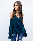 Lustrious Ruffle Drape Blouse - Deep Forest
