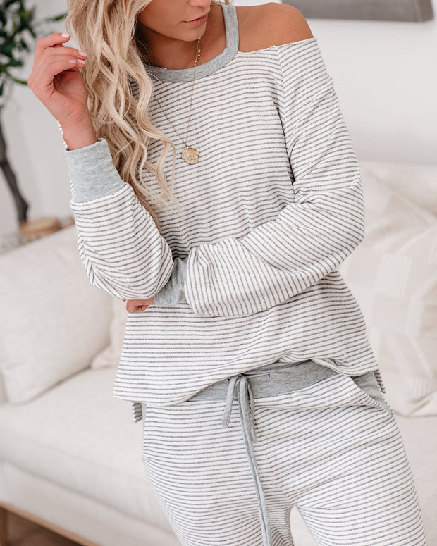 Cameron Striped French Terry Cutout Pullover