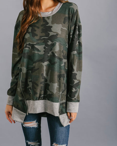 Hidin' Out Camo Zip Knit Top