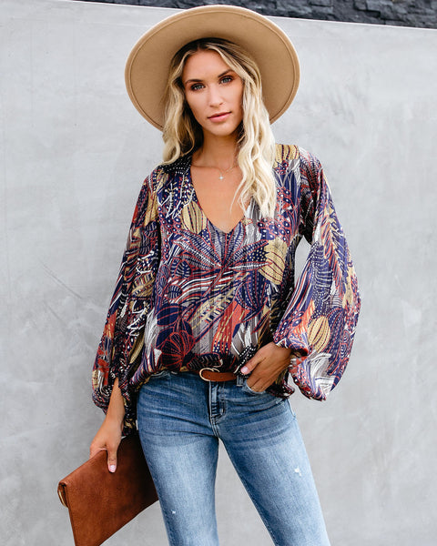 Campaign Balloon Sleeve Shimmer Blouse