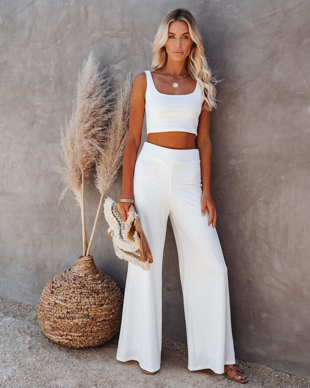 Campfire Wide Leg Ribbed Knit Pants - White view 1