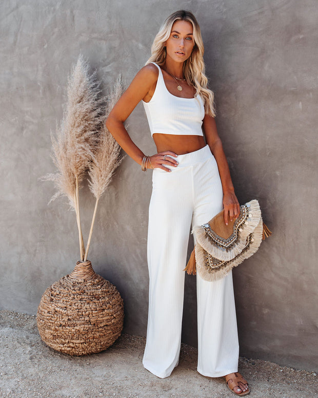 Campfire Wide Leg Ribbed Knit Pants - White view 5