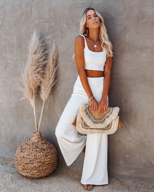 Campfire Ribbed Crop Knit Tank - White view 3