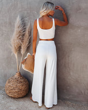Campfire Wide Leg Ribbed Knit Pants - White view 2