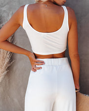 Campfire Ribbed Crop Knit Tank - White view 2
