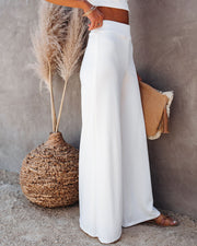 Campfire Wide Leg Ribbed Knit Pants - White view 8