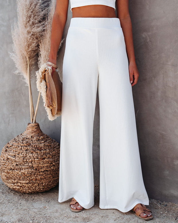 Campfire Wide Leg Ribbed Knit Pants - White view 3