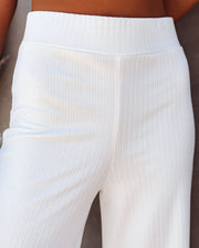 Campfire Wide Leg Ribbed Knit Pants - White view 4