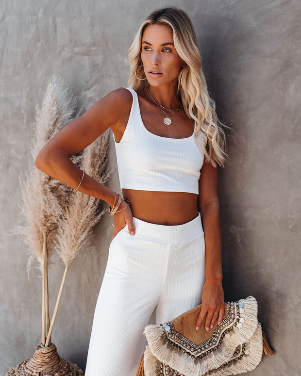 Campfire Ribbed Crop Knit Tank - White view 8
