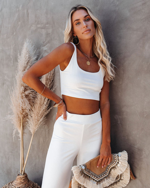 Campfire Ribbed Crop Knit Tank - White