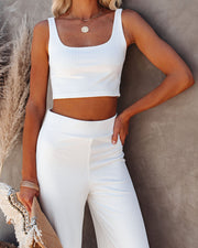 Campfire Ribbed Crop Knit Tank - White view 9