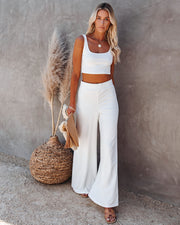Campfire Wide Leg Ribbed Knit Pants - White view 9