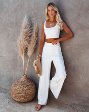Campfire Wide Leg Ribbed Knit Pants - White view 10