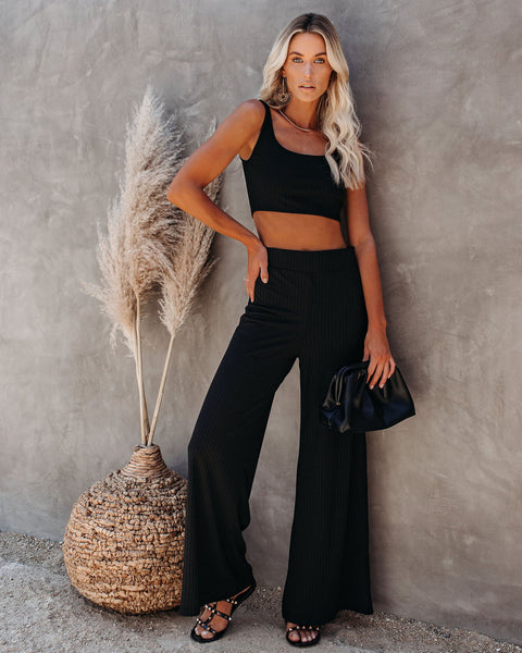 PREORDER - Campfire Wide Leg Ribbed Knit Pants - Black
