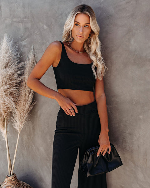 PREORDER - Campfire Ribbed Crop Knit Tank - Black