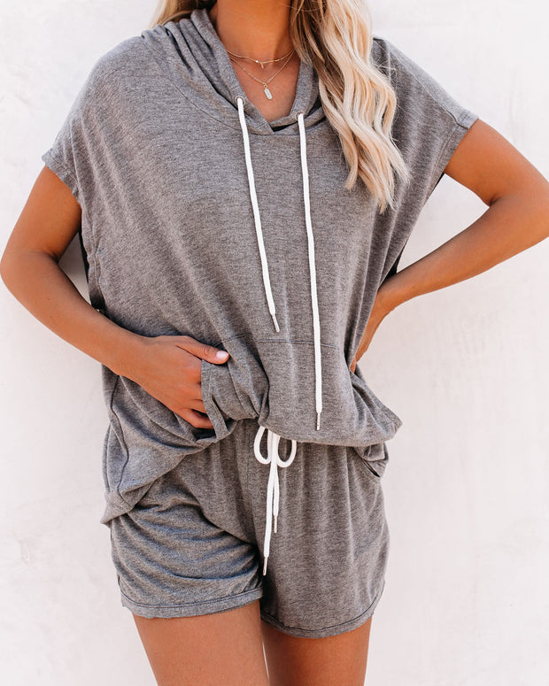 Campsite Pocketed Short Sleeve Knit Hoodie - FINAL SALE