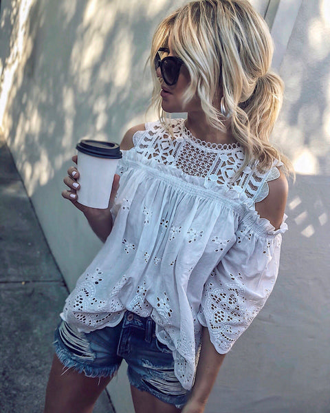 Canal Street Cotton Cold Shoulder Top