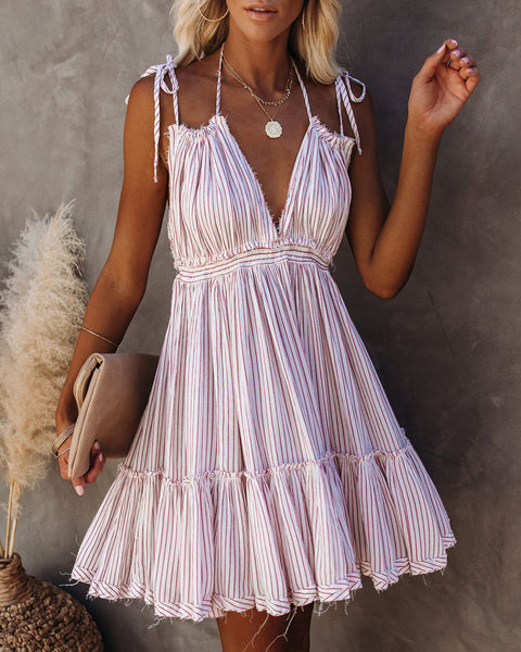 Candy Striper Frayed High Low Halter Dress