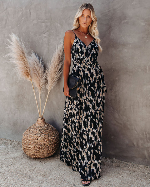 Can I Have This Dance Printed Wrap Maxi Dress