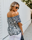 Cannes Off The Shoulder Top - Navy