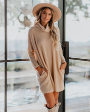 Cannon Pocketed Cowl Neck Thermal Knit Dress  - Warm Vanilla - FINAL SALE