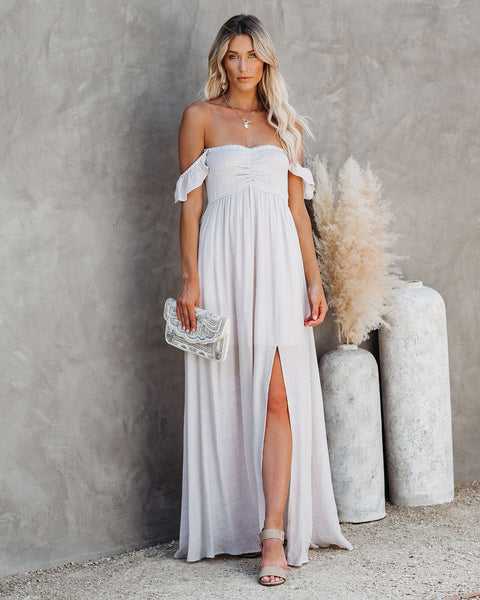 Can't Hurry Love Off The Shoulder Maxi Dress - Sand