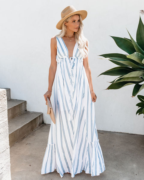 Cape Cod Striped Adjustable Maxi Dress