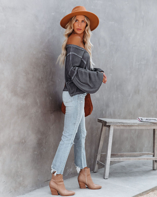 Capitol Reef V-Neck Knit Pocket Top - Charcoal