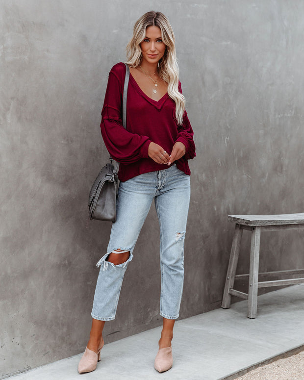 Capitol Reef V-Neck Knit Pocket Top - Maroon