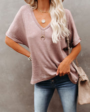 Capsize Cotton High Low Cuffed Tee - Mocha