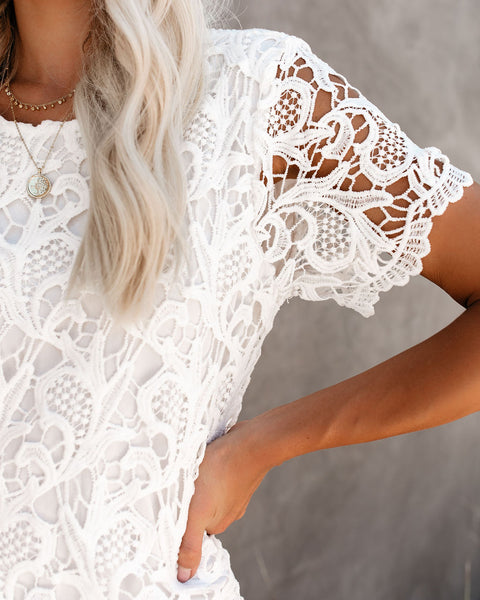 Capture Memories Crochet Lace Shift Dress - Off White - FINAL SALE