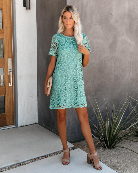 Capture Memories Crochet Lace Shift Dress - Slate Green - FINAL SALE
