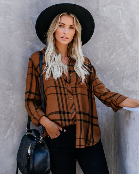 Caramel Apple Plaid Button Down Top