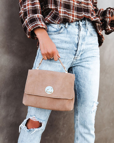 Carefree Suede Crossbody Handbag - Natural
