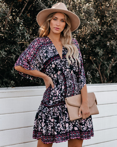 Carissa Floral Kimono Tiered Babydoll Dress - FINAL SALE