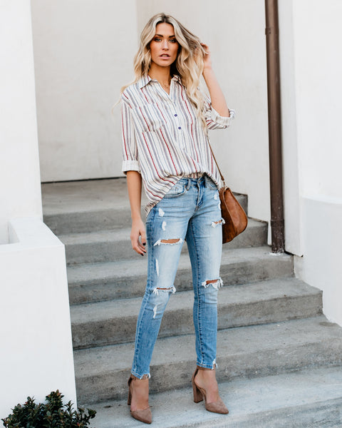 Carmen San Diego Striped Top