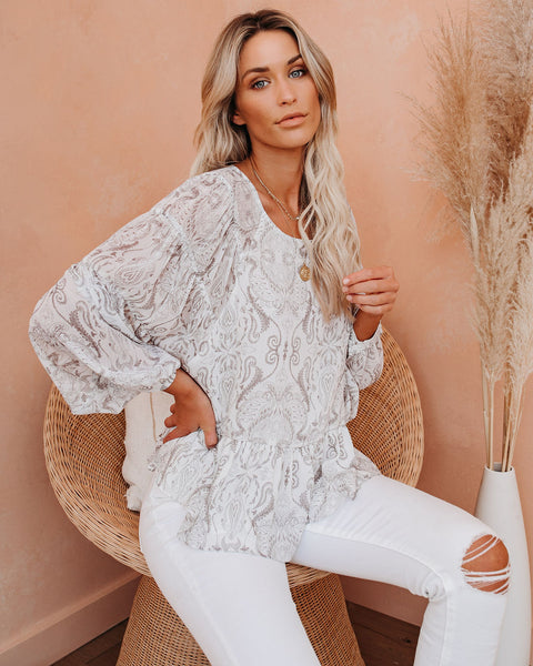 Casablanca Paisley Printed Top - FINAL SALE