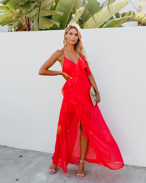 Casanova Ruffle Wrap Maxi Dress - Coral