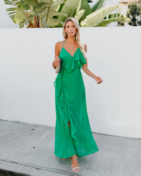 Casanova Ruffle Wrap Maxi Dress - Green
