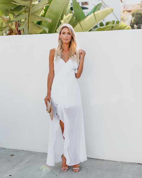 Casanova Ruffle Wrap Maxi Dress - White
