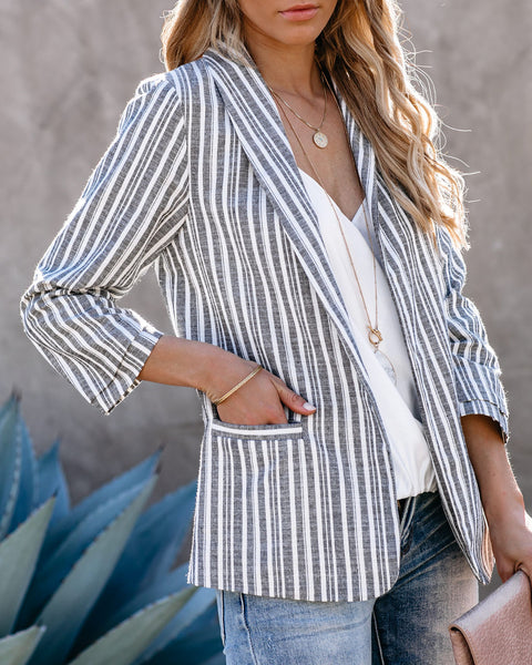 Caspian Cotton + Linen Pocketed Striped Blazer