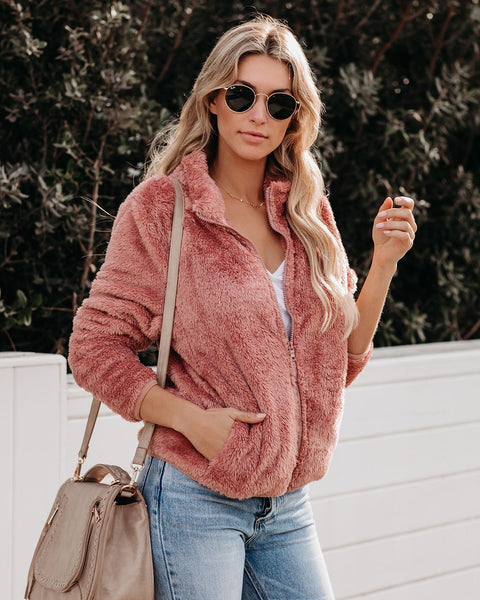 Cassie Pocketed Fuzzy Knit Jacket