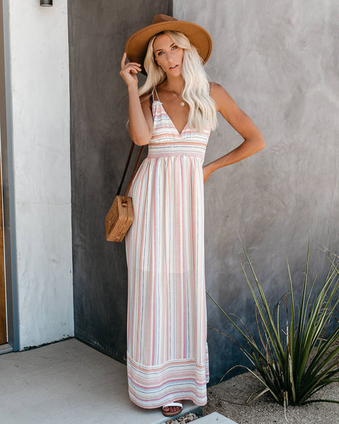 Cassie Striped Smocked Maxi Dress - FINAL SALE