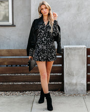 Cast A Shadow Printed Wrap Romper- FINAL SALE