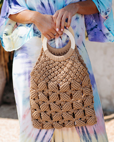 Castaway Woven Handbag - Light Mocha