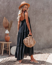 Catch The Sun Tiered Midi Dress - Black view 2