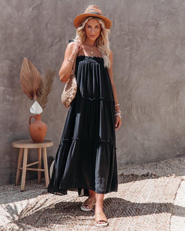 Catch The Sun Tiered Midi Dress - Black view 5