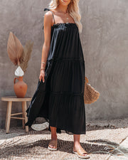 Catch The Sun Tiered Midi Dress - Black view 10